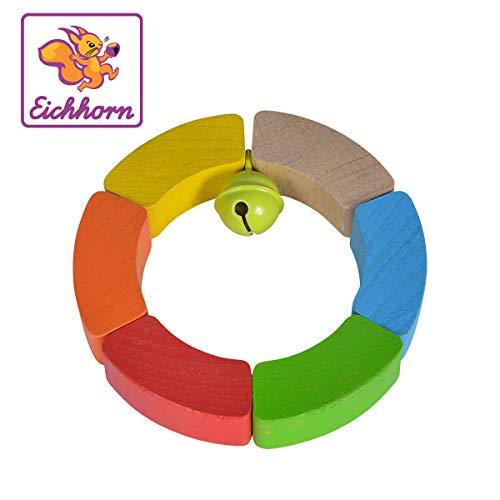 Eichhorn 100017039 Baby Greifling Kreis, geometrischer Greifling zur Förderung der motorischen Fähigkeiten, bunt, aus FSC 100 Prozent zertifiziertem Buchenholz, ab 3 Monaten