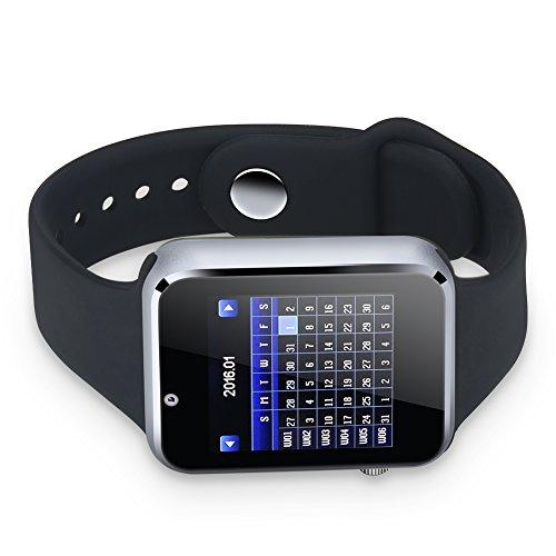 Weikeya Reloj de teléfono, temporizador sensible sueño inteligente 4 x 3 cm pantalla de acrílico y correa de silicona y soporte de borde de metal Bluetooth para uso independiente (negro)