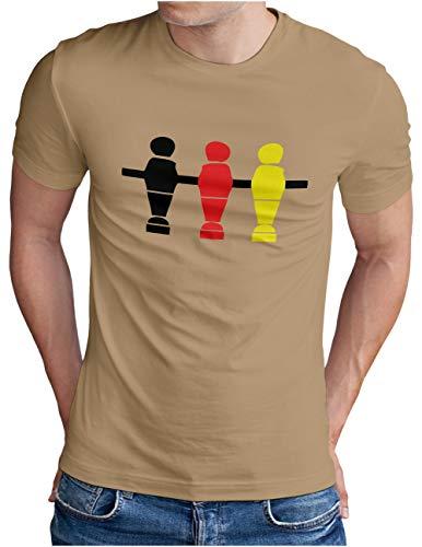 OM3® Deutschland T-Shirt | Herren | Fussball Kicker Tischkicker | Khaki, XXL