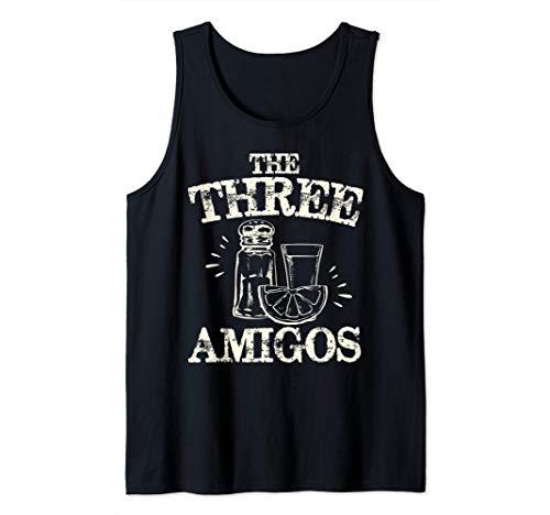 Los Tres Amigos Tequila Lima Salada Bebida del Cinco de Mayo Camiseta sin Mangas