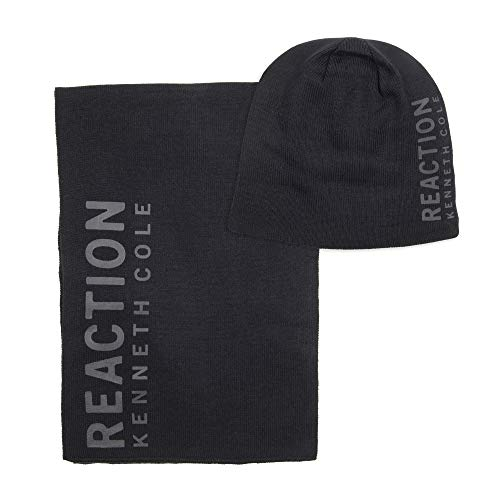 Kenneth Cole REACTION Men's Warm Winter Beanie Hat, Black Cuffed, One Size