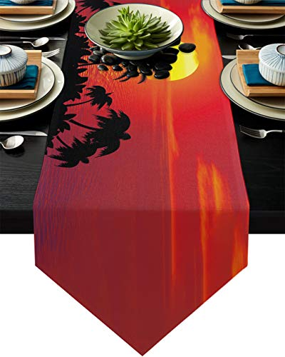 Infinidesign Dusk Table Runner, Cotton Table Runners Dining Table Home Decorations for Indoor and Outdoor Gatherings 13x120inch Ocean Sunset Coconut Tree Shadow