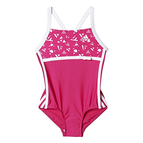 adidas Kinder Badeanzug INF 3S 1PC KG, Rosa/Weiß, 92