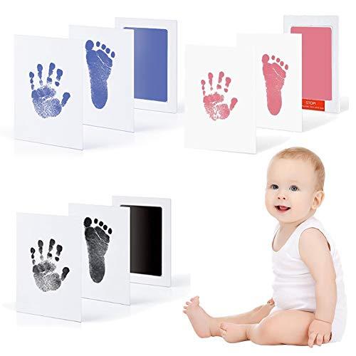 赤ちゃん 汚れないインク 手形 足形キット 3色セット ピンク ブルー ブラック ベビーフレーム ギフト 出産祝い 成長記録 新生児 1歳誕生日 猫犬手足型 記念品