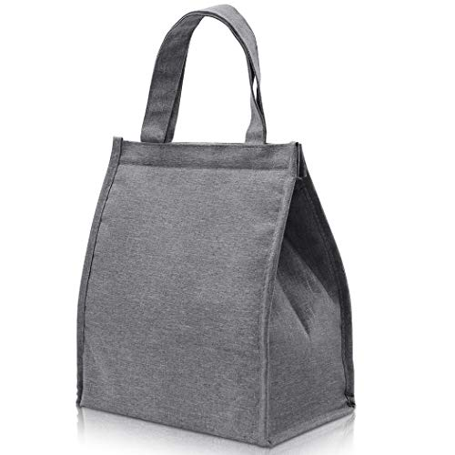 Lunch Bag PHIAKLE Reusable Insulated Grey lunch Sack Lunch Tote Bags with Pocket for Men & Women Work Outdoor Travel Picnic