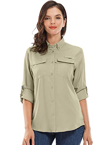 Jessie Kidden Damen-Langarm-Shirt, UV-Schutz, Sonnenschutz, zum Wandern, Angeln, Campen, schnelltrocknend Gr. XXL, 5026 Khaki