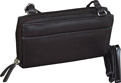 Paul & Taylor Women's Leather Double Zipper Clutch Wallet & Crossbody Bag
