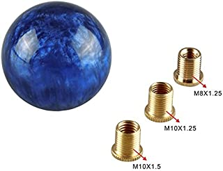 RONSHIN Unique Marble Style Round Ball Gear Shift Knob with 3 Adapters for Most Cars Universal Car Modification Parts Dark blue with adapter Auto accesories