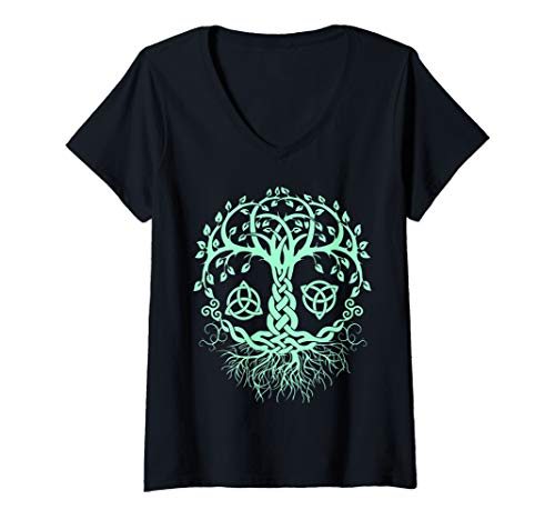 Womens Wiccan, Pagan and Occult Clothing. Celtic Knot Tree Of Life V-Neck T-Shirt