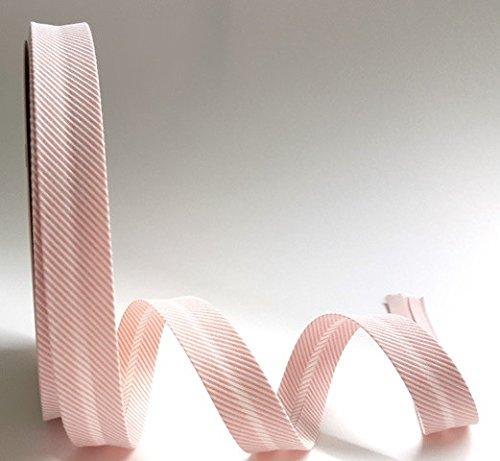 Peach Rosa Tejido Diagonal rayas textura 18mm bies por Fany en un 3m longitud (N.B. este es un corte de un rollo)