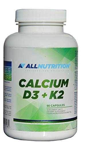 Calcium mit Vitamin D3, K2 (MK-7), 90 Kapseln, für Knochen, gute Knochendichte besonders im Alter, bei Knochenbruch, 2 caps. am Tag, Calcium 750mg, Vit. D3 50ug (2000 I E), Vit. K 100ug,