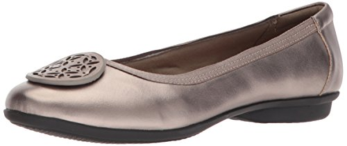 Clarks Women's Gracelin Lola Ballet Flat, Pewter Metlaiic Leather, 8 Medium US