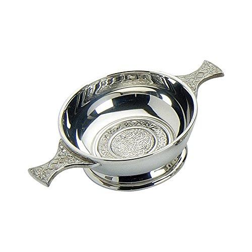 Edwin Flasque & Co Quaich avec Motif Celtique Circulaire et poignées, en étain, 10,2 cm