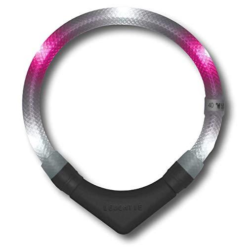 LEUCHTIE® Leuchthalsband Plus weiß-pink Größe 45 I LED-Halsband für Hunde I 100 h Leuchtdauer I wasserdicht I enorm hell