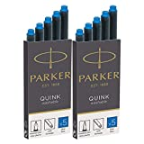 Parker Quink Washable Ink Fountain Pen Refill Cartridges, 10 Blue Ink Refills (3016031PP) (10 Cartridges, Blue)