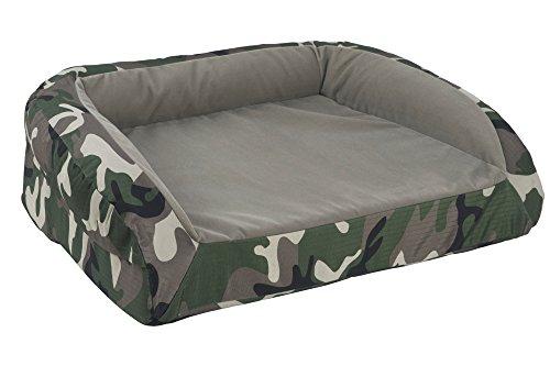 K9 Ballistics Orthopedic Bolstered TUFF Velvet Bed Brindle Velvet/Green Camo Ripstop - Small (18'x24'x5')