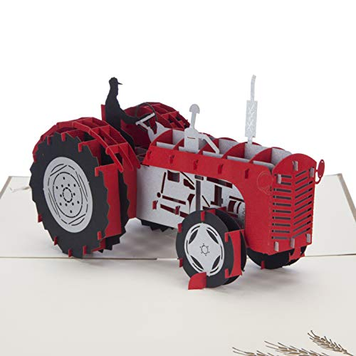 Roter Ferguson Traktor Geburtstagskarte – Traktor Geschenke für Männer, Geschenke für Landwirte, Vatertagskarten, handgefertigte Karte von Cardology