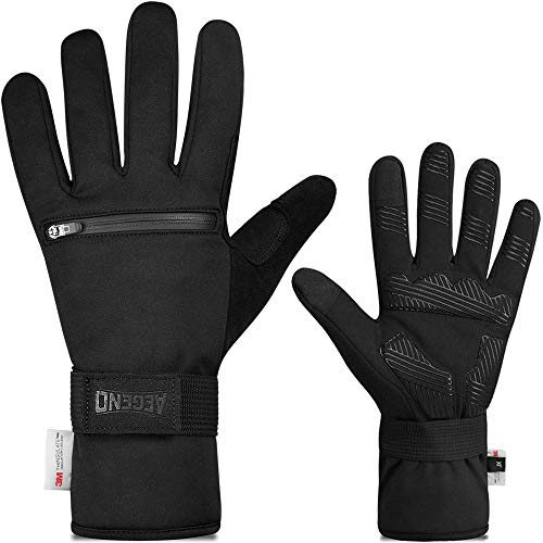 aegend Touch Screen Warm Cycling Gloves with Zipper Pockets, Winter Sports Gloves with Thermal 3M Thinsulate, Water Resistant for Daily Use, Biking, Working, Skiing, Hunting for Men Women, X Large