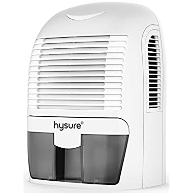 Hysure 1500ml Dehumidifier, 2201 Cubic Feet, Compact and Portable for Damp Air, Mold, Moisture in Home, Kitchen, Bedroom, Basement, Caravan, Office, Garage