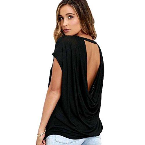 Damen T-Shirt,Internet Frauen Sommer Kurzarm Lose Flügelhülse T-Shirt Tops Beiläufig Casual Sexy Rückenfrei Bluse Tunika Mode Tank Pullover Tops (Schwarz, L)