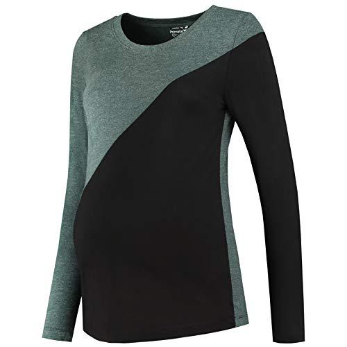 Prénatal dames modieus shirt met lange mouwen voor zwangere groen/zwart