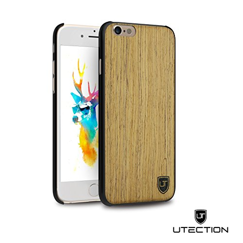 UTECTION Funda Cover de Madera para iPhone 6 Plus / 6s Plus - 100% Eco Madera Genuina - Ultra Delgada - Ajuste Wood-Case Abachi