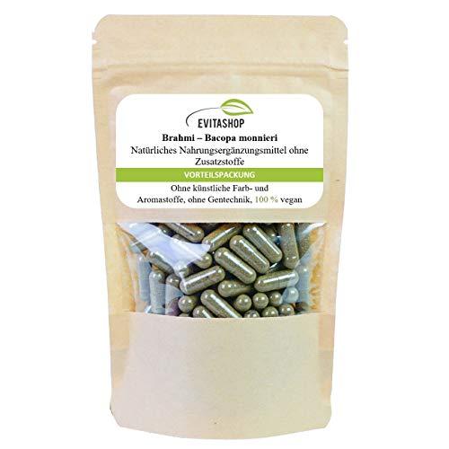 Brahmi Kapseln, Bacopa monnieri | 1 Packung = 60 x 500 mg | Ohne Zusatzstoffe | 100% vegan | Hochdosierte Kapseln | Gedächtnispflanze aus dem ayurvedischen | Made in Germany