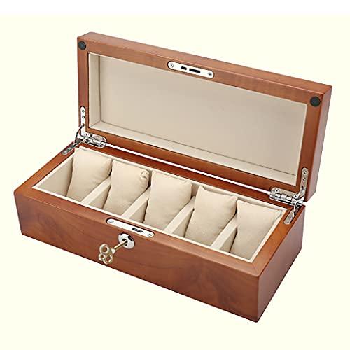 Organizador de caja de reloj de madera retro, ranuras cherry-rojas 6 Reloj organizador de almacenamiento, soporte de reloj grande con cerradura de metal, caja de reloj caja de joyería para coleccionab