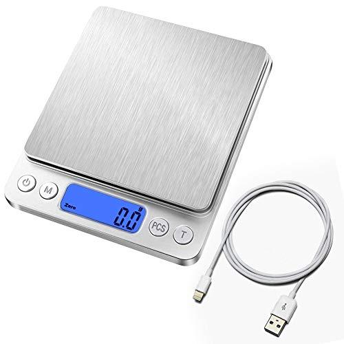 Digital Küchenwaage mit USB Aufladen,Digitalwaage 0.1g/3kg,Electronische Feinwaage,PSC/Tara-Funktion/LCD Display ,9 Einheiten Konvertierung,Briefwaage,Taschenwaage,USB-Ladekabel Ladevorgang