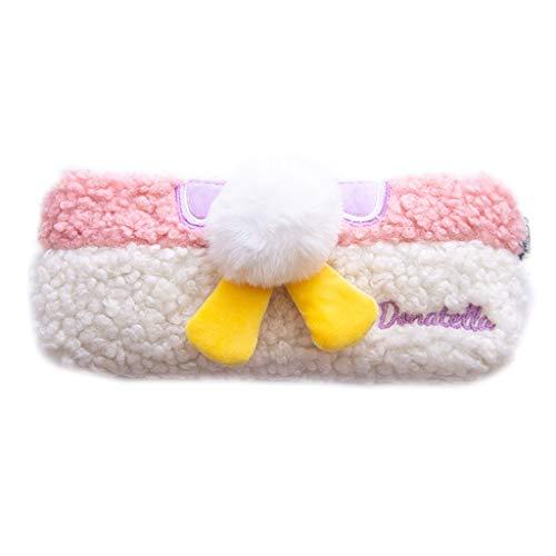 GLASSNOBLE Bolsa de almacenamiento, linda suave felpa, esponjosa, estuche para estudiantes, con cremallera, organizador de papelería, color rosa y blanco