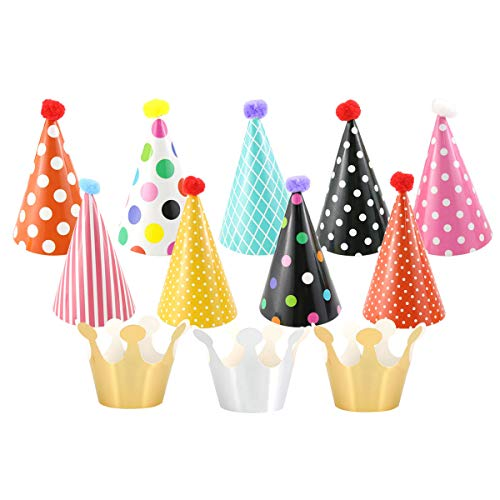 Faxco 2 Sets 22 Pack Party Hats Fun Cone Party Hats for Kids, Birthday Cone Hats