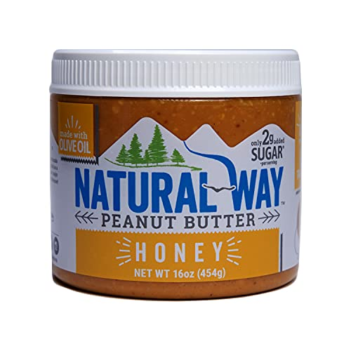 Natural Way Peanut Butter, Honey, (1) 16 Ounce Jar - Made with Olive Oil