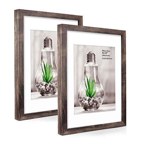 Metrekey Bilderrahmen 28x35 cm mit Passepartout 20x25 Vintage Holz aus MDF und Hochauflösend Plexiglas für Wand Dekoration und Tischanzeige Foto (2 Pack)