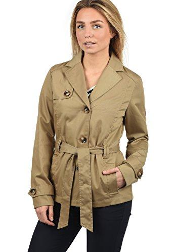 DESIRES Trixie Damen Trenchcoat Mantel Übergangsjacke mit Reverskragen und Gürtel, Größe:XL, Farbe:Sand (4073)