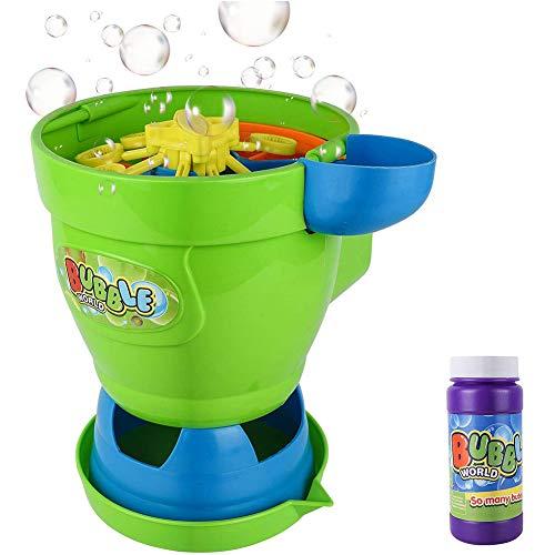 YQZ Máquina de Burbujas, soplador de Burbujas automático portátil, Juguetes para Hacer Burbujas al Aire Libre para niños, Regalos Divertidos para niños para Fiestas en el jardín (con líquido)
