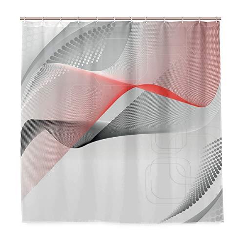 BEITUOLA Cortina Baño,Composición Digital Moderna con Elementos geométricos, Cuadrados, Puntos, Curvas, Ondas,Baño...