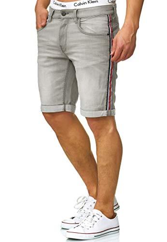 Indicode Herren Fife Jeans Shorts mit 5 Taschen aus 98{f139efc802324256b1c560d618f4cb0c30a131e2370f9a4c8d465682974c5066} Baumwolle | Kurze Denim Stretch Sommer Hose Used Look Washed Destroyed Regular Fit Men Short Pants Freizeithose für Männer Lt Grey L