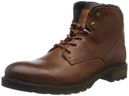 Tommy Hilfiger Herren Winter Textured Leather Boot Klassische Stiefel, Braun (Cognac 606), 45 EU