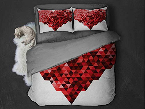 Toopeek Burgundy hotel bed linen Futuristic Modern Heart in Geometrical Ombre Style in Squared Pixels Artwork polyester - soft and breathable (King) Red and Ruby