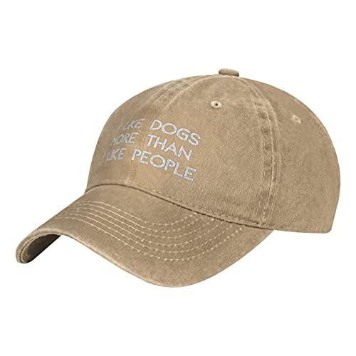 "Leumius Sombrero de béisbol con texto en inglés ""I Like Dogs More Than I Like People Funny Humorory"", unisex, natural, Talla única"