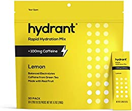 HYDRANT Electrolyte Powder Caffeine & L-Theanine 30 Pack, Rapid Hydration Drink Mix, Electrolyte Powder with Zinc, Use for...