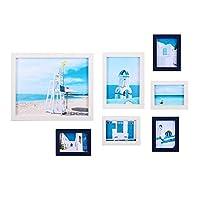 フォトフレーム 7個/セットフォトフレーム5/7/10インチ壁掛け家族の思い出アート写真写真ホームオフィスホテルの装飾 おしゃれ プレゼント ギフト 記念品 (Size:Free Size; Color:Blue)