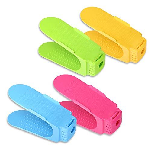 Schramm 4 Stück Schuh Stapler Schuhhalter in 4 Farben Grün, Blau, Gelb und Pink Schuhe Organizer...
