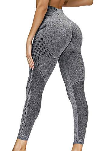 INSTINNCT Damen Yoga Lange Leggings Slim Fit Fitnesshose Sporthosen #0 Lächeln Stil(gerafft) - Grau mit Taschen S