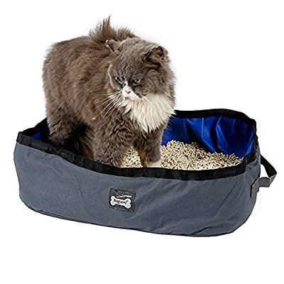 Ebrand Portable Foldable Cat Litter Box Collapsible Waterproof Cat Litter Tray Cat Toilet for Home Outdoor Travel Camping (Gray, Approx 18.1in x 13.78in x 5.51in)