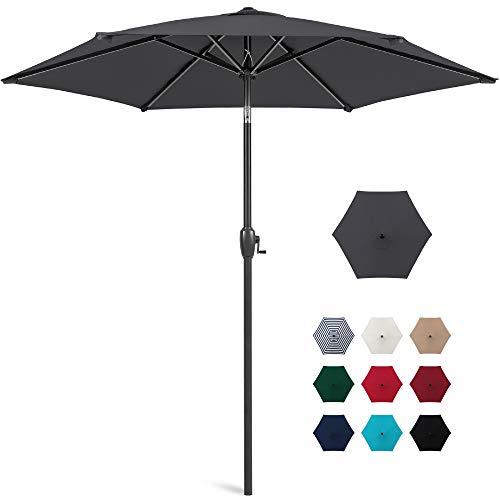 Best Choice Products 7.5ft Heavy-Duty Round Outdoor Market Patio Umbrella w/Steel Pole, Push Button Tilt, Easy Crank Lift - Gray