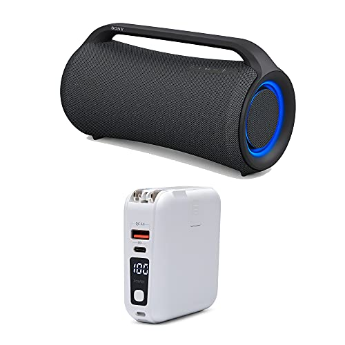Sony XG500 X-Series MEGA BASS Portable Bluetooth Wireless Speaker and Kratos 15,000mAh LED Display 18W PD Portable Charger with Built-in AC Adapter Bundle (2 Items)