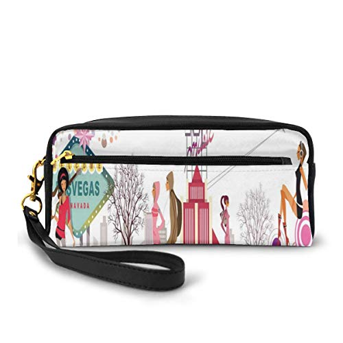 Pencil Case Pen Bag Pouch Stationary,Modern Cartoon Teenagers Walking on The Street in Nevada United States Airplane,Small Makeup Bag Coin Purse
