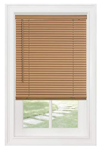 "PowerSellerUSA Cordless Window Blinds, Privacy & Light Filtering 1"" Slats Vinyl Mini Blind, Anti-UV Window Treatment, Fits Windows 18"" - 72"", Woodtone, 34"" (Width) x 64"" (Length)"