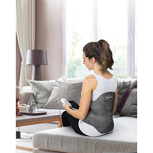 Sunbeam, Heating Pad Back Wrap with Adjustable Strap Contoured for Back Pain Relief 4 Heat Settings with 2 Hour Auto Off 23 x 15 Inch Slate Grey